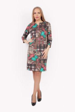 Платье трикотажное Кэрри (бежево-розовое)