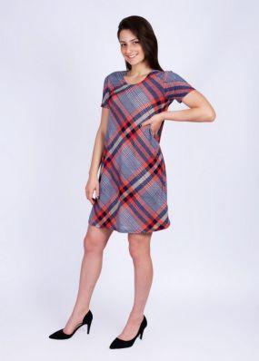 Платье трикотажное Этта (сине-красное)