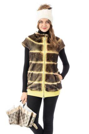 Женская кожаная жилетка из натуральной кожи с воротником, отделка норка