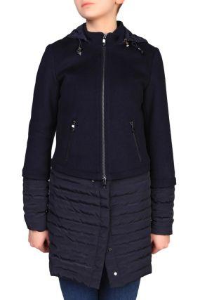 Комбинированное пальто с капюшоном