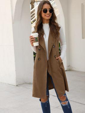 Двубортное пальто-жилет с карманом