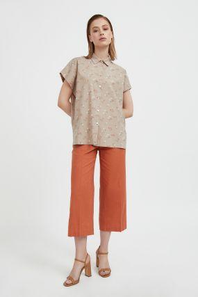 хлопковая рубашка с цветочным рисунком