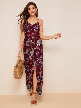 Платье с графическим принтом, разрезом и кружевной вставкой