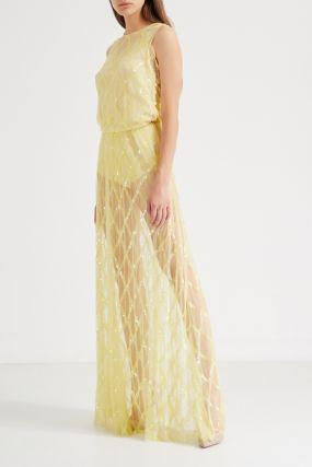 Желтое платье с пайетками