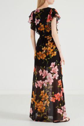 Платье с принтом в пол