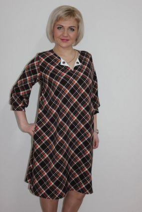 Платье трикотажное Моника (клетка)