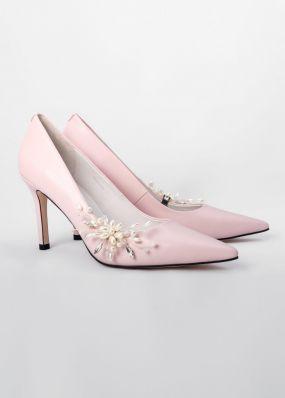 Светло-розовые туфли-лодочки на каблуках с брошью TBB009-10SH