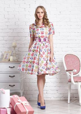 Вечернее платье с ярким принтом ND138B