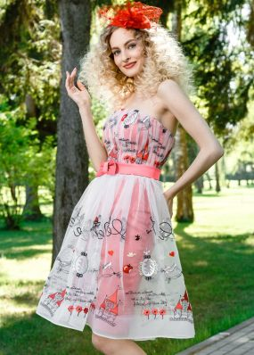 Вечернее платье с бантом на поясе TB052B