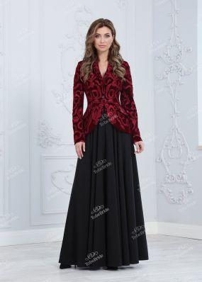 Бордовый костюм с юбкой-брюками ND091B