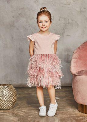 Платье с перьями страуса BAB011D