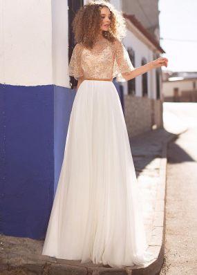 Свадебное платье с рашитым пайетками верхом SDV011