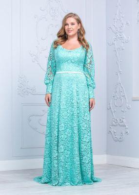 Кружевное платье цвета тиффани RB027B o