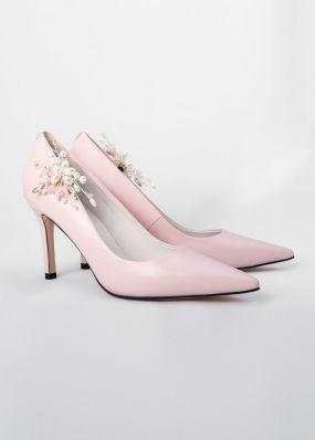 Светло-розовые туфли-лодочки на каблуках с брошью TBB009-13SH
