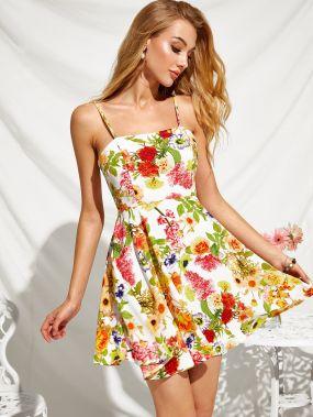 Расклешенное платье-комбинация с цветочным принтом