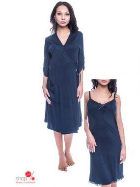Комплект: сорочка, халат Nicoletta, цвет синий