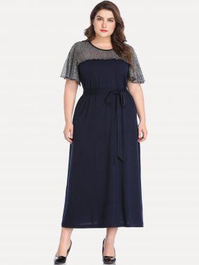 Размера плюс платье с поясом и контрастной сетчатой вставкой