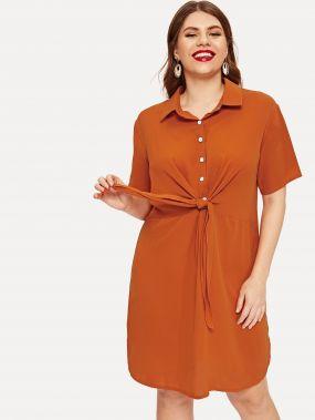 Размера плюс однотонное платье-рубашка с бантом