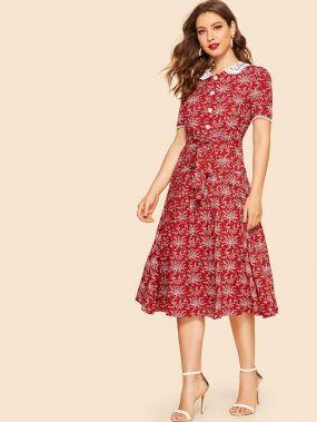 30s приталенное платье-клёш с поясом кружевным воротником и графическим принтом