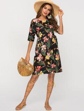Платье с цветочным принтом и узлом сбоку