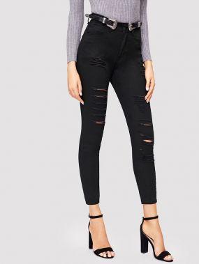 Рваные обтягивающие джинсы с высокой талией
