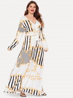 Размера плюс платье с запахом и смешанным принтом