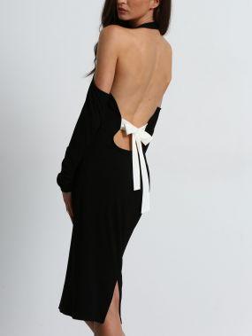 Чёрное облегающее платье-американка с открытой спиной с бантом