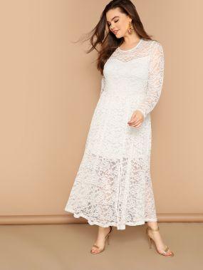Размер плюс 2в1 платье с цветочным кружевом