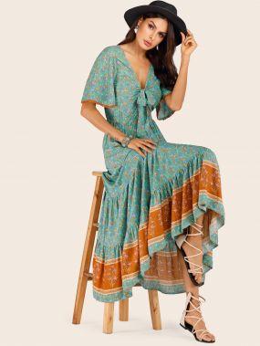 Платье с оборкой, завязкой и цветочным принтом