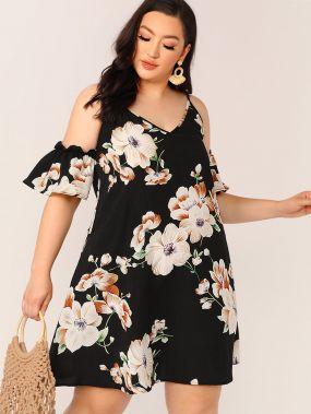 Платье размера плюс с открытыми плечами и цветочным принтом
