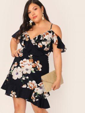 Платье На Запах С Цветочным Принтом, Оборкой И Открытым Плечом Размера Плюс