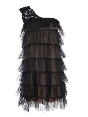 Платье на одно плечо с сеткой