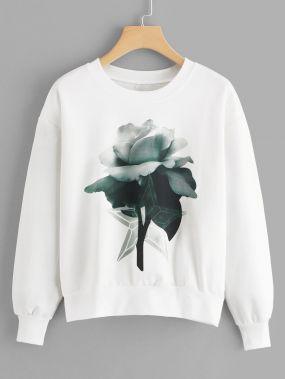 Белый свитшот с цветочным принтом