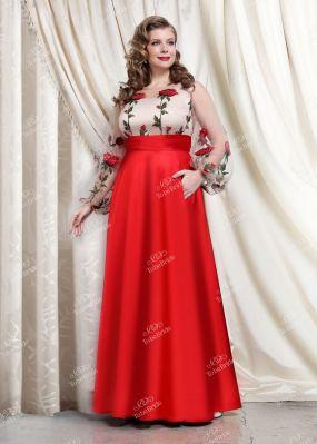 Длинное вечернее платье с красной юбкой TB029B