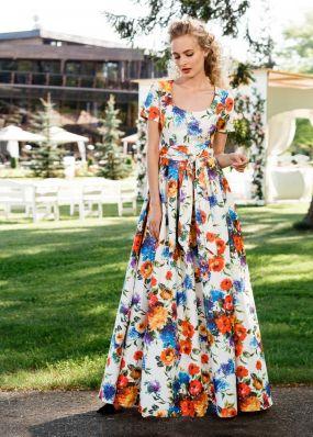 Летнее атласное платье в пол ND145B