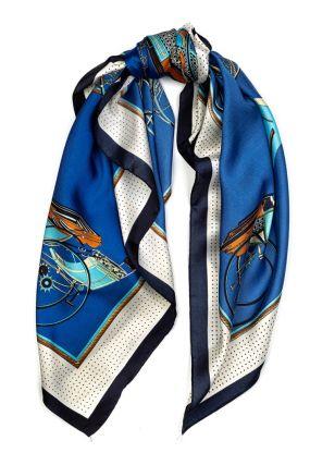 Синий платок с узором и принтом