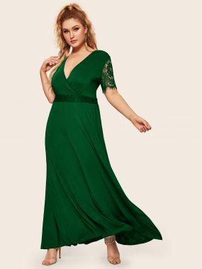 Длинное платье размера плюс с кружевом