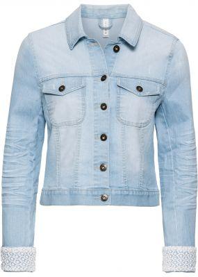Куртка джинсовая с кружевной отделкой