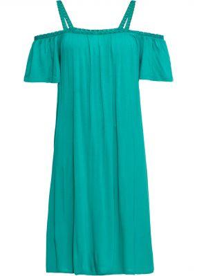 Платье с вырезом кармен и кружевным кантом