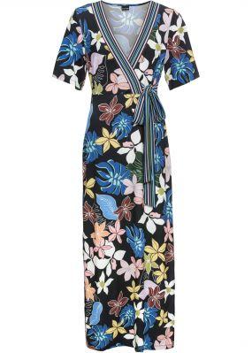 Трикотажное платье с запахом-обманкой