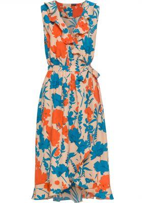 Платье с запахом и воланами