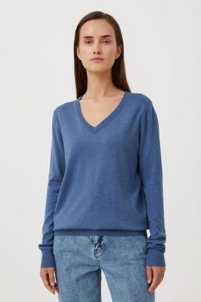базовый женский пуловер прямого силуэта с шерстью