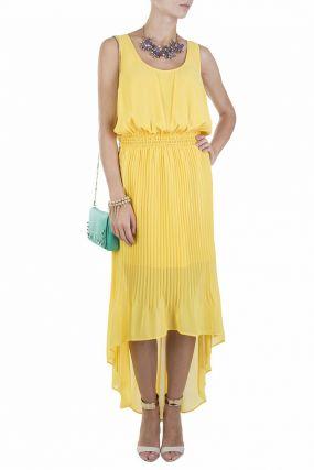 Желтое платье с юбкой гофре