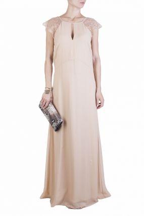 Бежевое платье макси из шелка