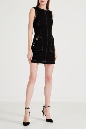 Черное мини-платье с декоративными швами