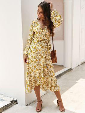 Нарядное Платье Миди На Запах С Цветочным Принтом