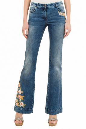 Синие джинсы-клеш