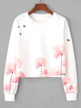 Модный свитшот с цветочным принтом