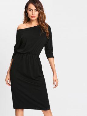Модное платье на одно плечо с эластичной талией