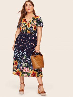 Размер плюс платье с цветочным принтом